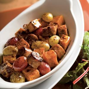 Oven Roasted Sausage with Sweet Potatoes and Grapes