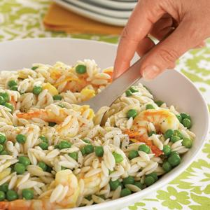 Orangey Orzo with Shrimp and Peas