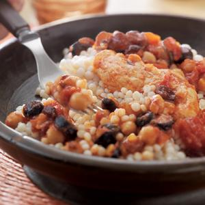 Moroccan Chicken with Tomatoes, Chickpeas and Couscous