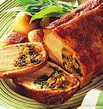 Roast Pork Loin with Apricot Spinach Stuffing