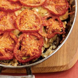 Fall Vegetable Gratin with Herbed Orzo Pasta