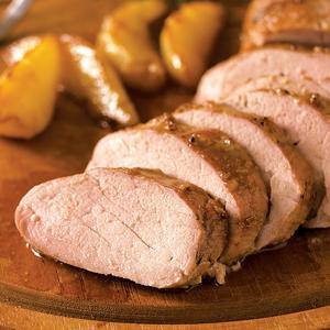 Stout Mustard Glazed Pork Tenderloin w/Sauteed Pears