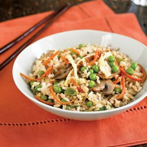 Rice with Crunchy Vegetables and Seasoned Omelet Strips