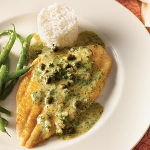 Flounder Fillets with Parsley Caper Sauce