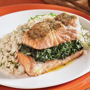 Garlicky Spinach Stuffed Salmon