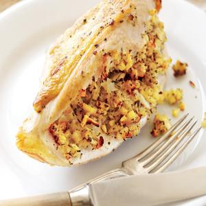 Roast Chicken Breasts with Apple Onion Stuffing