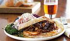 BBQ Beef Sandwiches with Roasted Garlic and Onion Sauce