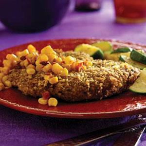 Mexican-Style Milansea with Smoky Corn Relish