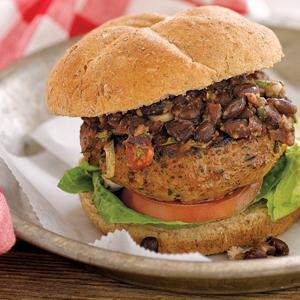 Taco Burgers with Black Bean Salsa