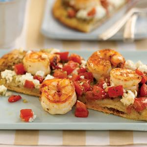 Shrimp and Salsa Pizza with Goat Cheese and Pesto
