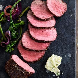 Peppered Top Sirloin Roast with Sauteed Broccolini