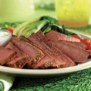 Grilled Eye Round Steaks with Wasabi-Yogurt Cream