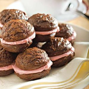 Bittersweet Chocolate Sandwich Cookies with Raspberry Creme