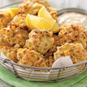 Clam and Corn Fritters with Lemon Aioli