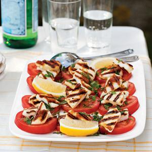 Grilled Halloumi and Tomato Salad