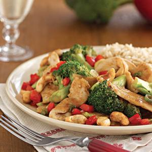 Cashew Chicken w/ Red Bell Peppers & Broccoli