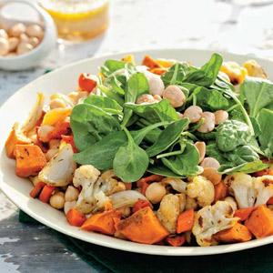 Roasted Vegetable Salad with Chickpeas and Honey Lemon Dressing