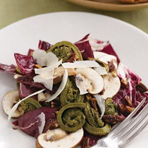Fiddlehead and Mushroom Salad with Pecan Vinaigrette