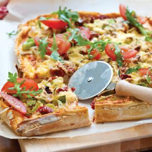 Eggplant and Tomato Pizza