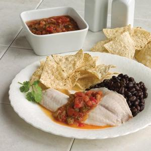 Salsa Broiled Tilapia with Black Beans and Tortilla Chips