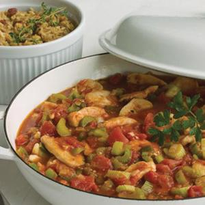 Chicken Creole with Red Beans and Rice