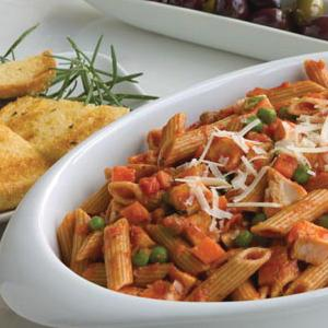 Penne Chicken Bake with Garlic Bread