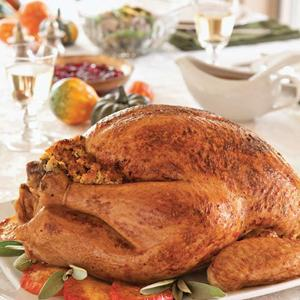 Cider-Glazed Turkey with Apple Cornbread Stuffing