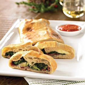 Vegetable, Salami, and Cheese Calzone