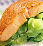 Roasted Salmon over Cucumber Salad
