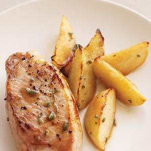 Roast Pork Chops with Apples and Sage