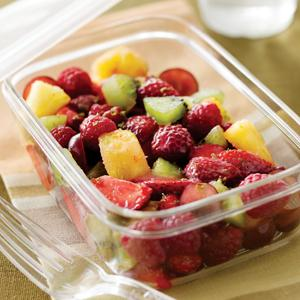 Fresh Fruit Salad with Sweet Cream Raspberry Sauce