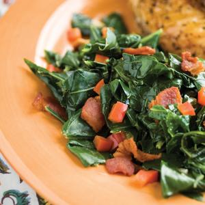 Collard Greens with Red Pepper and Maple Mustard