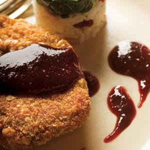 Nut Encrusted Pork Chops with Raspberry Wine Reduction