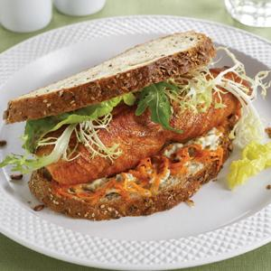 Spiced Salmon Sandwich with Carrot Slaw