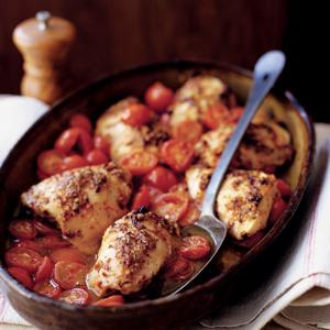 Spicy Roasted Chicken with Tomatoes