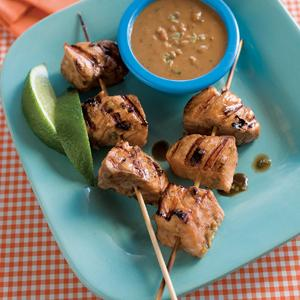 Asian Salmon Skewers with Peanut Butter Sauce