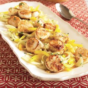 Pan-Seared Scallops with Warm Fennel Slaw