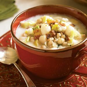 Scallop Chowder with White Beans and Leeks