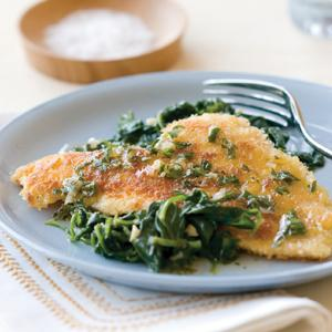Crispy Fish with Spinach and Lemon Tarragon Sauce
