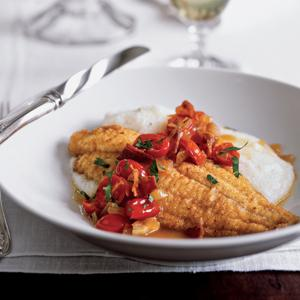Cayenne Catfish and White Grits with Tomato Onion Chutney