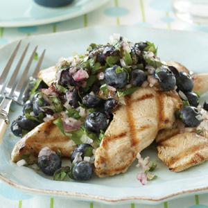 Grilled Chicken with Blueberry Salsa