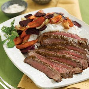 Slightly Spicy Steak with Roasted Root Vegetables