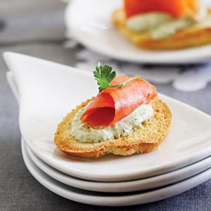 Smoked Salmon and Cilantro Bruschetta