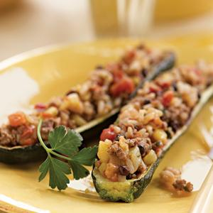 Zucchini Stuffed with Minted Rice and Lamb
