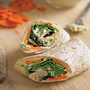 Hummus Carrots and Greens Wraps