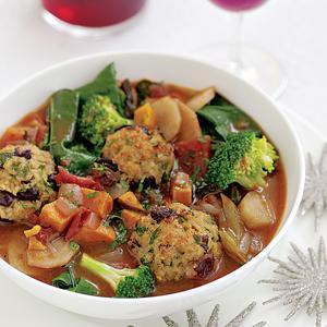 "Rainbow Vegetable Stew with Bulgur ""Meatballs"""