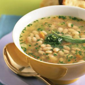 White Bean, Chicken,and Pesto Soup