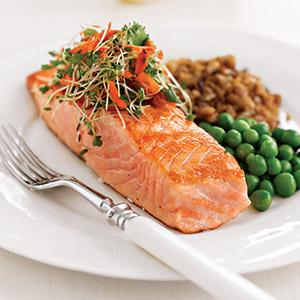 Pan-Seared Salmon Topped with Indian-Spiced Sprouts and Carrots