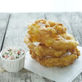 Southern-style Sweet Corn Vidalia Onion Rings with Crabmeat Dip