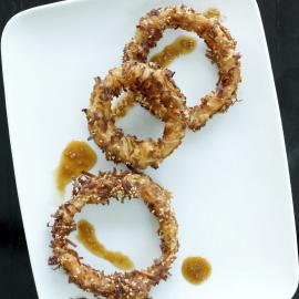 Hawaiian Coconut-Crusted Vidalia Onion Rings with Tamari-Ginger Dipping Sauce